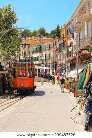 Port De Soller, Mallorca, Spain - June 17, 2018: Famous Vintage Tram Train Of Port De Soller, Palma