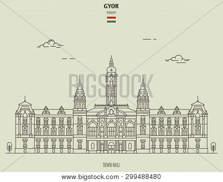 Town Hall In Gyor, Hungary. Landmark Icon In Linear Style