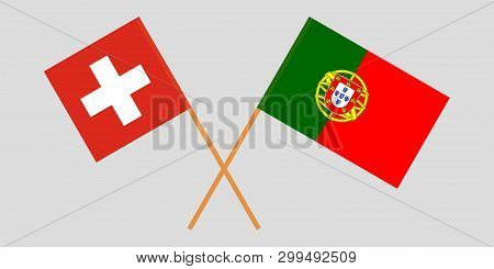 Portugal And Switzerland. The Portuguese And Swiss Flags. Official Colors. Correct Proportion. Vecto