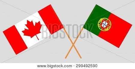 Portugal And Canada. The Portuguese And Canadian Flags. Official Colors. Correct Proportion. Vector