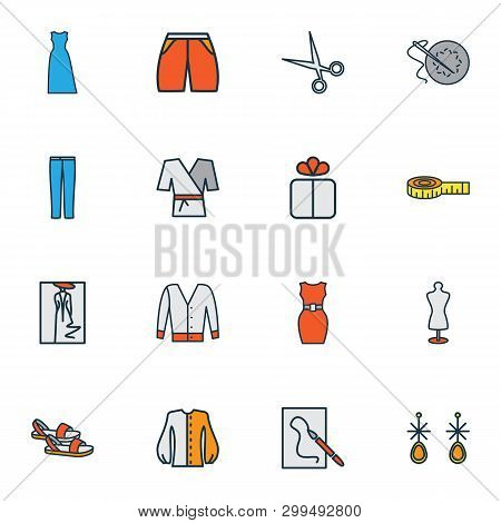 Fashionable Icons Colored Line Set With Short Cardigan, Earring, Sandals Painting Elements. Isolated