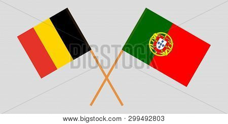 Portugal And Belgium. The Portuguese And  Belgian Flags. Official Colors. Correct Proportion. Vector