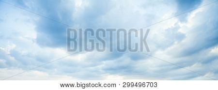 Blue Sky Clouds Background. Beautiful Landscape With Clouds On Sky