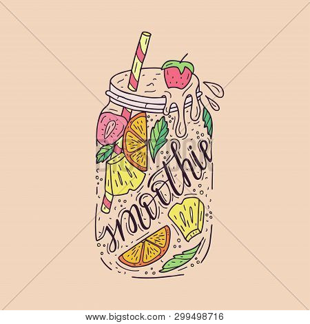 Smoothies In A Glass Bottle With Straws. Fresh Fruit Smoothie With Strawberries, Pineapple And Orang
