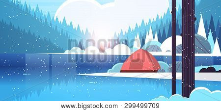 Tent Camping Area In Forest Campsite Near River Winter Camp Travel Vacation Concept Snowfall Sunrise
