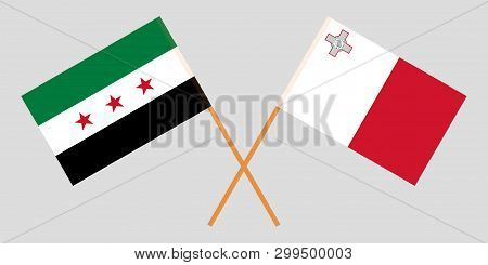 Malta And Interim Government Of Syria. The Maltese And Coalition Flags. Official Colors. Correct Pro
