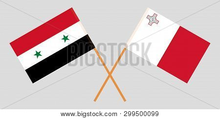 Malta And Syria. The Maltese And Syrian Flags. Official Colors. Correct Proportion. Vector Illustrat