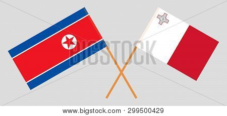 Malta And North Korea. The Maltese And Korean Flags. Official Colors. Correct Proportion. Vector Ill