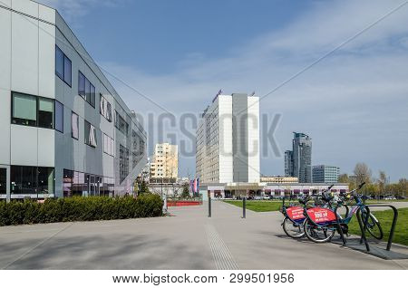 Gdynia, Pomeranian Region / Poland - 2019: A Green Square In Front Of The Modern Cinema Building And