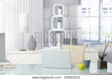 Stylish bright living room with laptop and green apple, still-life picture.?