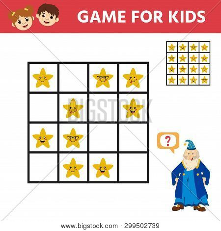 Sudoku For Children, Education Game. Set Of Star. Activity For Pre Shool Years Kids And Toddlers. Ve