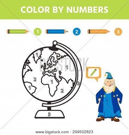 Game For Kids. Color By Number. Coloring Page Or Book With Earth. Activity For Pre Shool Years Kids