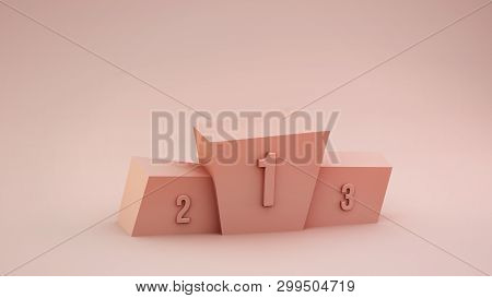 Winners Podium On The Pink Pastel Background. Victory First, Second And Third Place. 3d Render Illus