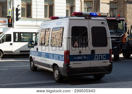 St. Petersburg, Russia - May 01, 2019:russian Patrol Police Car On The Street Of St. Petersburg With