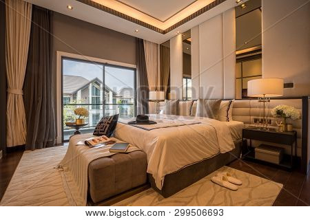 Bangkok, Thailand - September 23, 2018: Bed And Nightstand In Modern Bedroom And Equipment For A Com