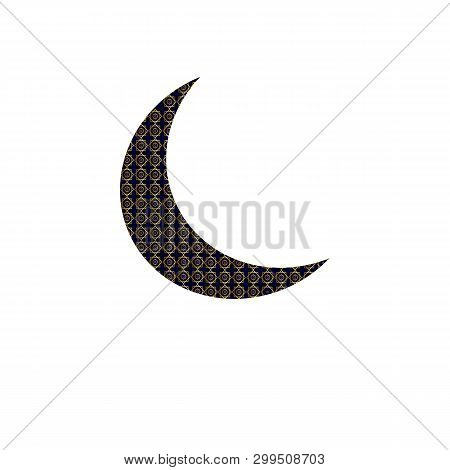 Crescent Moon Decorated With Beautiful Flowers On Colourful Background For Muslim Community Festival