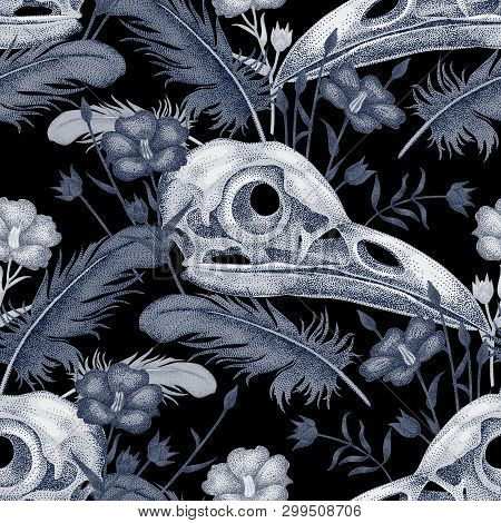 Seamless Pattern With Skulls, Feathers And Flowers. Decorative Composition On The Theme Of Death In