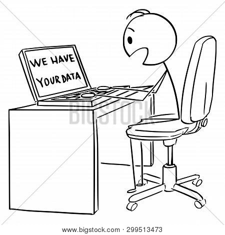 Vector Cartoon Stick Figure Drawing Conceptual Illustration Of Man Or Businessman Working On Compute