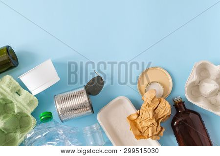 Environmental Conservation Concept - Rubbish Prepared For Recycling, Cardboard, Plastic, Metal, Glas