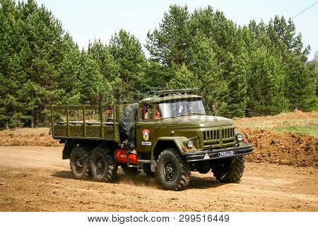 Zlatoust, Russia - May 15, 2010: Military Flatbed Truck Zil-131 At The Countryside.