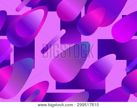 Colorful Liquid Shape Seamless Pattern. Fluid Concept Design. Abstract Geometric Gradient Background