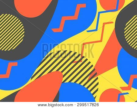 Abstract Geometric Seamless Pattern In The Memphis Style Of The 80S. Background For Wrapping Paper,