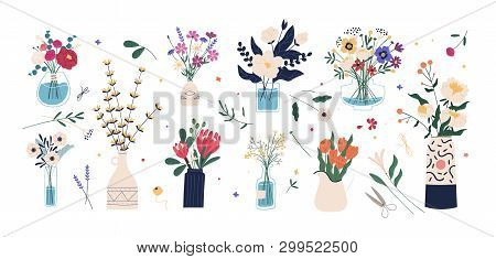 Collection Of Wild And Garden Blooming Flowers In Vases And Bottles Isolated On White Background. Bu