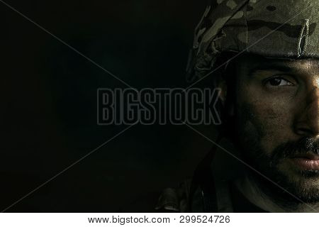 Dark Side Of Me Will Be Closed Always. Close Up Portrait Of Young Male Soldier. Man In Military Unif