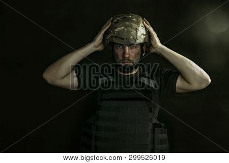 Protect Your Head, But Not Mind. Half-lenght Portrait Of Young Male Soldier. Man In Military Uniform