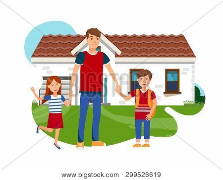 Young Father With Son And Daughter Flat Vector. Happy Man, Boy And Girl Standing Near House Isolated