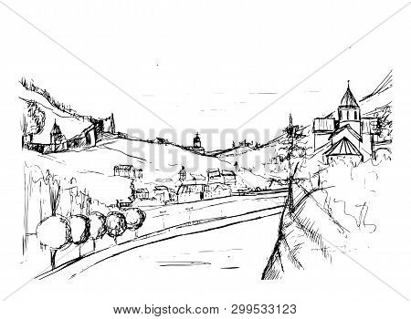 Rough Draft Of Small Georgian Town Street, Buildings And Trees Against Mountains On Background. Land