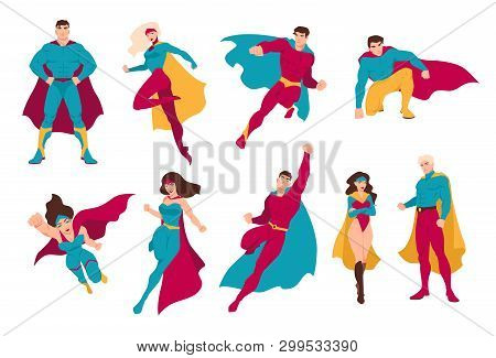 Collection Of Superheroes. Bundle Of Men And Women With Super Powers. Set Of Male And Female Cartoon