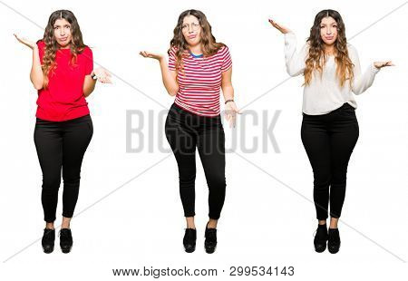 Collage of beautiful young woman over white isolated background clueless and confused expression with arms and hands raised. Doubt concept.
