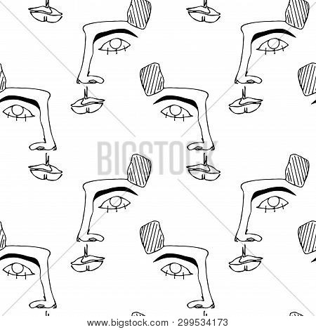 Seamless Pattern With Faces. Abstract Outline Silhouette Of Human Face. Modern Avant- Garde Poster.