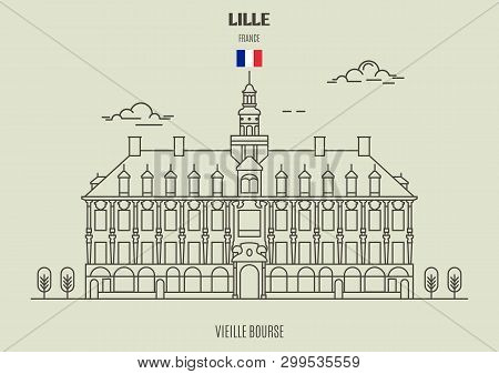 Vieille Bourse in Lille, France. Landmark icon in linear style poster