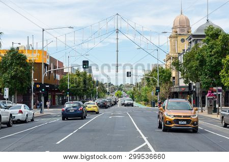 Geelong, Australia - October 14, 2018: View East Along Malop Street, A Major Commercial Thoroughfare