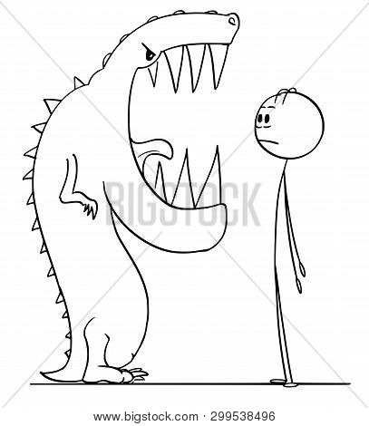 Cartoon Stick Figure Drawing Conceptual Illustration Of Shocked Man Watching Big Teeth In Mouth Of D