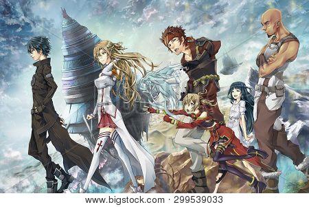 Group Of Anime Boys And Anime Girl