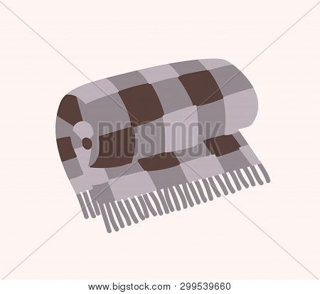 Woolen Checkered Plaid With Fringe Or Warm Rolled Tartan Blanket Isolated On White Background. Home