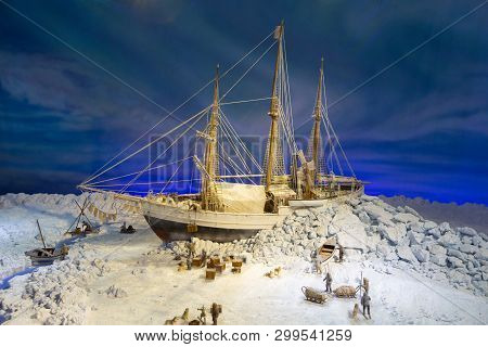 Oslo, Norway - July, 2016: Model Of An Old Ship Stuck In The Ice Of Antarctica. Sailors Are Trying T