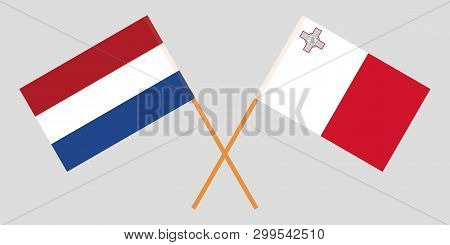 Malta And Netherlands. The Maltese And Netherlandish Flags. Official Colors. Correct Proportion. Vec