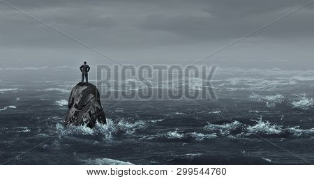 Business Despair Concept As A Stranded Businessman Lost At Sea Standing On An Isolated Rock As A Cor