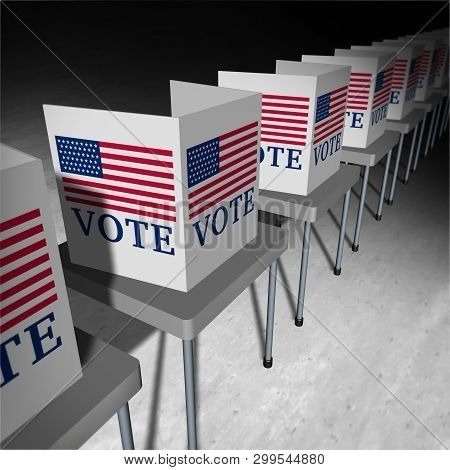 United States Vote As A Voting Polling Place With Voter Booths For An American Presidential Or Gover