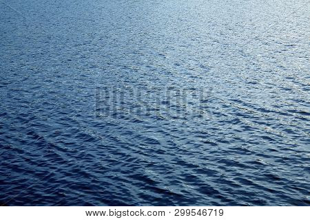 Beautiful Deep Blue Lake Water Surface Sun Glare Background Texture