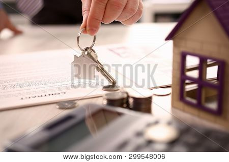 Home Real Estate Property Handover Sale Concept. House, Symbol On Keychain. Bank Credit For Resident