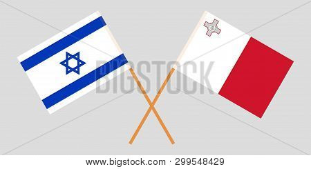Malta And Israel. The Maltese And Israeli Flags. Official Colors. Correct Proportion. Vector Illustr
