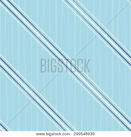 Irregular Blue And White Diagonal Stripes Design. Seamless Vector On Cool Blue Background With Subtl