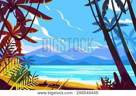 Paradise Beach Landscape Vector Illustration. Picturesque View