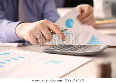 Person Calculate Finance Company Budget Concept. Busy Booker Man Counting, Working On Numbers Using