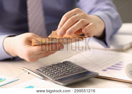 Savings Finances Concept Man Counting Cash Money. Formal Man Accounting Euro Bills. Businessman Calc